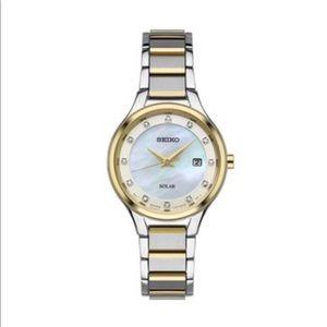 Seiko Women's Watch— quartz solar with diamonds